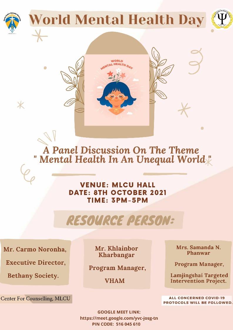 world mental health day mlcu shillong